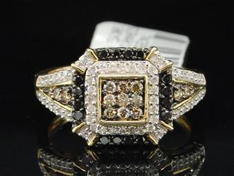 10K LADIES YELLOW GOLD CHAMPAGNE BROWN & BLACK DIAMOND ENGAGEMENT WEDDING RING