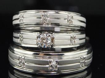 Diamond Solitaire Trio Set 14K White Gold Round Matching Wedding Ring 0.34 Tcw.
