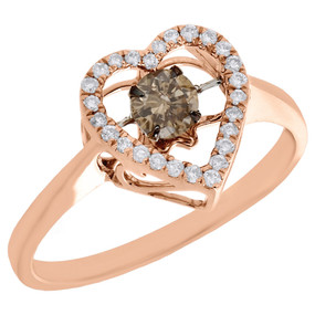 10K Rose Gold Brown Solitaire Dancing Diamond Halo Heart Cocktail Ring 0.38 Ct.