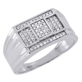10K White Gold Mens Round Pave Diamond Square Fashion Pinky Ring Band 0.30 Ct.