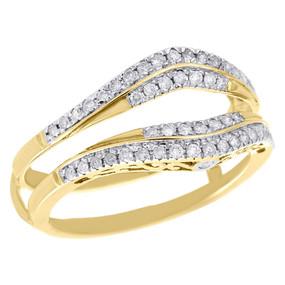 10K Yellow Gold Diamond Enhancer Ring Wrap Jacket Contour Wedding Band 0.34 Ct.