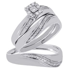 Diamond Cluster Wedding Trio Bridal Set Engagement Ring Sterling Silver 1/5 Ct.