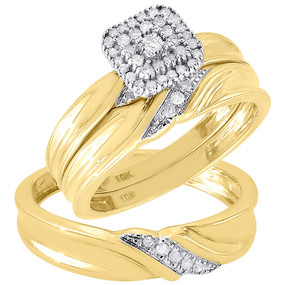 Diamond Trio Set 10K Yellow Gold Ladies Engagement Ring Mens Wedding Band .21 Ct