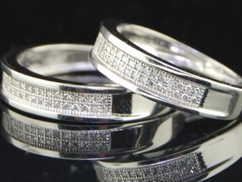 Diamond Duo Set Mens & Ladies Wedding Bands Dual Engagement Ring 0.35 Ct,