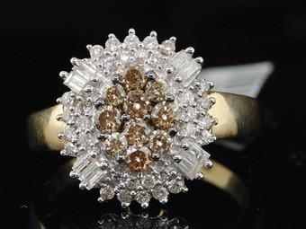 LADIES 14K YELLOW GOLD .78C BROWN DIAMOND CLUSTER RING