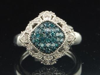 Ladies 10K White Gold Kite Blue Diamond Engagement Fashion Cocktail Ring .50 Ct.