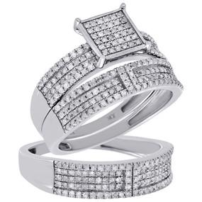10K White Gold Diamond Engagement Ring Square Head Wedding Band Trio Set 1.05 Ct