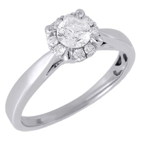 Diamond Solitaire Engagement Ring Ladies 14K White Gold Round Halo 0.50 Tcw.