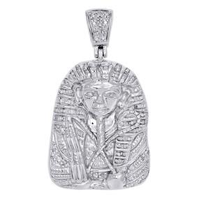 10K White Gold Charm Real Diamond Egyptian Pharaoh King Tut Pendant 0.20 Ct.