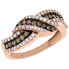 10K Rose Gold Brown Diamond Swirl Bypass Anniversary Band Cocktail Ring 0.75 Ct.