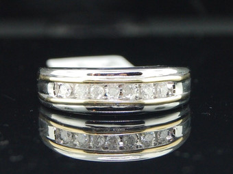 MENS 10K TWO TONE WHITE GOLD .25 CT DIAMOND ENGAGEMENT RING 7 STONE WEDDING BAND