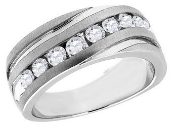 Diamond Wedding Band 10K White Gold Round Cut 1 Ct. Men's Comfort Fit Ring