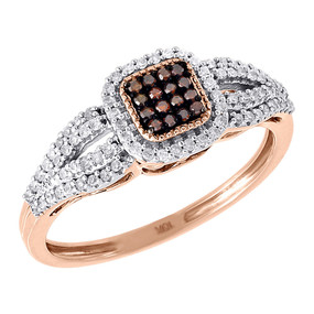 Red Diamond Square Cocktail Ring Ladies 10K Rose Gold Fashion Design 0.25 Tcw.