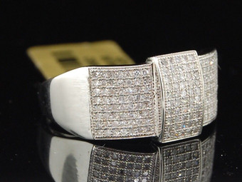 Diamond Pinky Ring Mens 10K White Gold Domed Face Round Pave Fashion Band .60 Ct