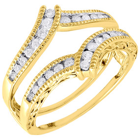 10K Yellow Gold Round Diamond Solitaire Engagement Wrap Enhancer Ring 0.34 Ctw.