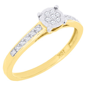 Diamond Promise Engagement Wedding Ring Ladies 10K Yellow Gold Round Cut 0.09 Ct
