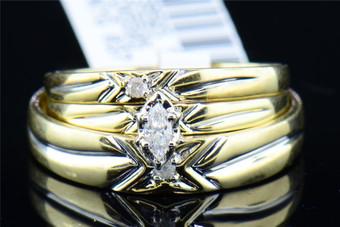 Diamond Solitaire Wedding Trio Set 10K Yellow Gold Engagement Ring 0.11 Tcw.
