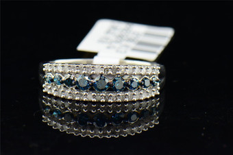 Ladies 10K White Gold Round Cut Blue Diamond Engagement Ring Wedding Band .50 ct