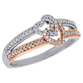 10K White & Rose Gold Two Tone Diamond Double Open Heart Ladies Ring 0.20 Ct.