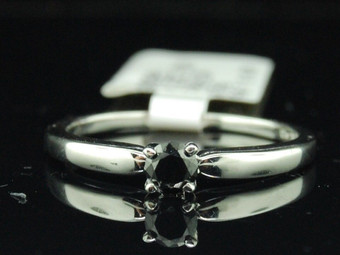 LADIES 10K WHITE GOLD BLACK DIAMOND SOLITAIRE ENGAGEMENT RING WEDDING BRIDAL SET