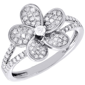 Diamond Flower Cocktail Ring Ladies 10K White Gold Round Pave Fashion 1/2 Tcw.