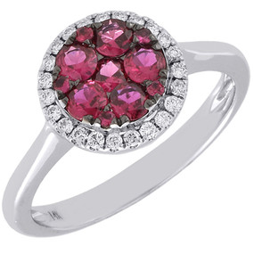 Diamond Genuine Red Ruby Cocktail Ring 14K White Gold Circle Design 0.68 Tcw.