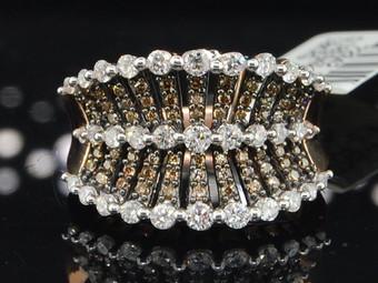 10K LADIES ROSE PINK GOLD CHAMPAGNE BROWN DIAMOND ENGAGEMENT WEDDING RING BAND