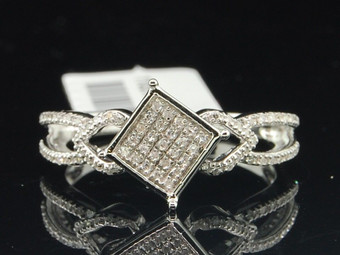 .925 Sterling Silver Round Diamond Fashion Cocktail Ring 0.20 Ct