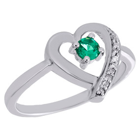 .925 Sterling Silver Created Emerald & Diamond Heart Ladies Promise Ring 0.03 Ct
