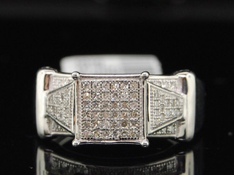 Diamond Square Cocktail Ring .925 Sterling Silver Round Pave Design 0.33 Ct.
