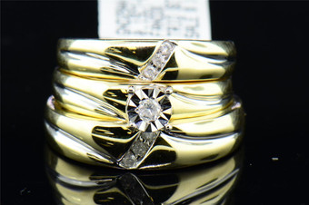 Diamond Engagement Trio Set 10K Yellow Gold Round Matching Wedding Ring 0.15 Tcw