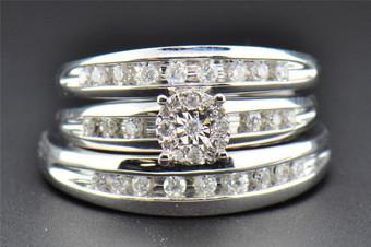 Diamond Trio Set  Engagement Ring Wedding Band Round Cut 10K White Gold 0.45 Ct