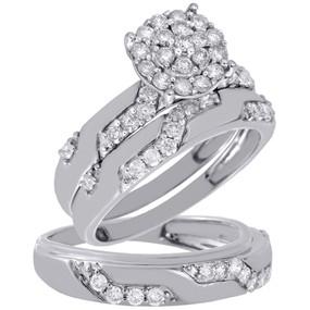 10K White Gold Diamond Trio Set Ladies Engagement Ring Mens Wedding Band 0.75 Ct