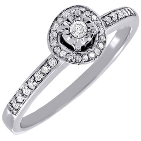 Diamond Promise Solitaire Engagement Fashion Ring Round 10K White Gold 0.16 Ct.