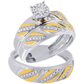 10K Two Tone Gold Diamond Trio Set Matching Engagement Ring & Band 0.36 Ct.