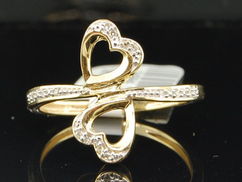 10K LADIES WOMENS YELLOW GOLD DOUBLE HEART DIAMOND ENGAGEMENT RING BRIDAL SET