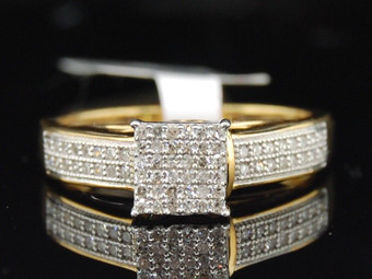 .925 Sterling Silver Round Cut Pave Diamond Square Design Promise Ring 1/4 Ct.