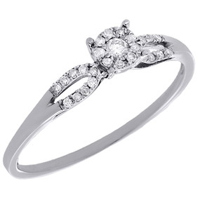 10K White Gold Genuine Diamond Ladies Flower Halo Bypass Engagement Ring 0.14 Ct