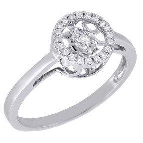 10K White Gold Dancing Diamond Shimmering Halo Wedding Promise Ring 0.18 Ct.