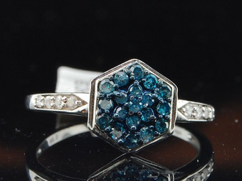 Blue Diamond Cocktail Ring 10K White Gold Fashion Right Hand Band 0.30 Ct.