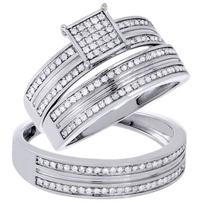 10K White Gold Natural Real Diamond Wedding Ring Mens Ladies Trio Set 0.55 Tcw.