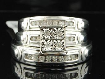 Diamond Matching 3 Piece Wedding Ring Set 10k White Gold His & Her Trio .20 Ct.