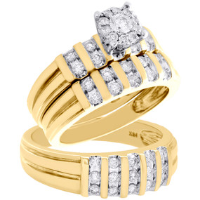 14K Yellow Gold Flower Diamond Trio Engagement Wedding Channel Ring Set 1.12 CT.