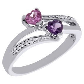 925 Sterling Silver Created Amethyst & Diamond Double Heart Promise Ring 1/20 Ct