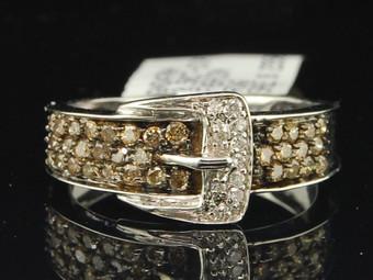 Ladies 14K White Gold Cognac Brown Belt Buckle Diamond Engagement Ring 1/2 ct.