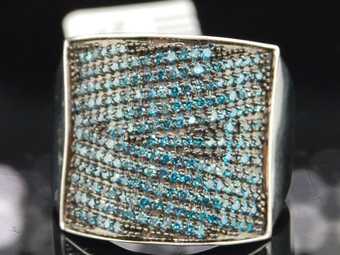 Blue Diamond Cocktail Ring Ladies 10K White Gold Fashion Pave Band 1.01 Tcw.