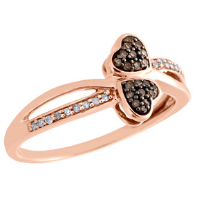 10K Rose Gold Brown Diamond Bypass Heart Ring Ladies Statement Band 0.10 CT.