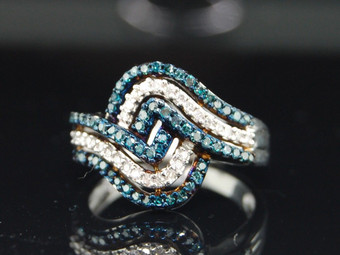 Blue Diamond Cocktail Ring 10K White Gold Ladies Right Hand Fashion Band 1/2 Ct.