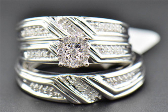 Diamond Trio Set Round Engagement Ring Wedding Band .925 Sterling Silver 0.31 Ct