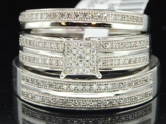 10k White Gold Round Diamond Pave Matching Wedding Trio Set 0.40 Ct.